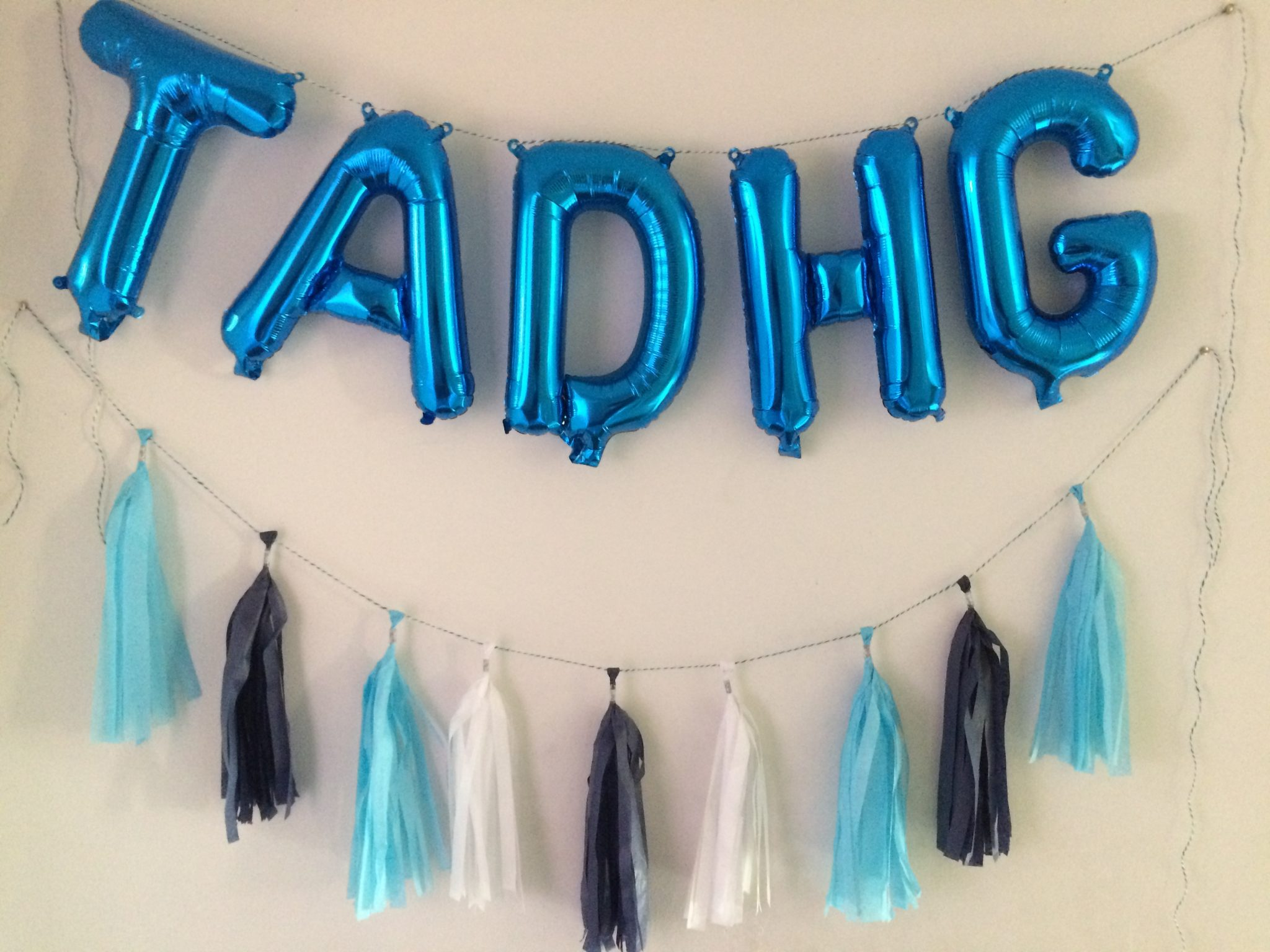 blue balloon letters and tassel dublin