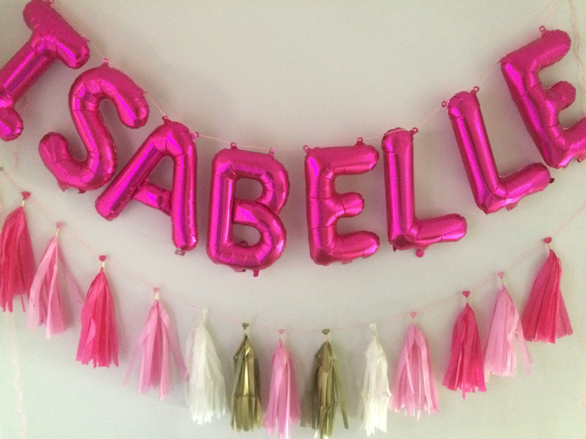 pink balloon letters and tassel dublin