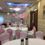 pink communion confetti balloons