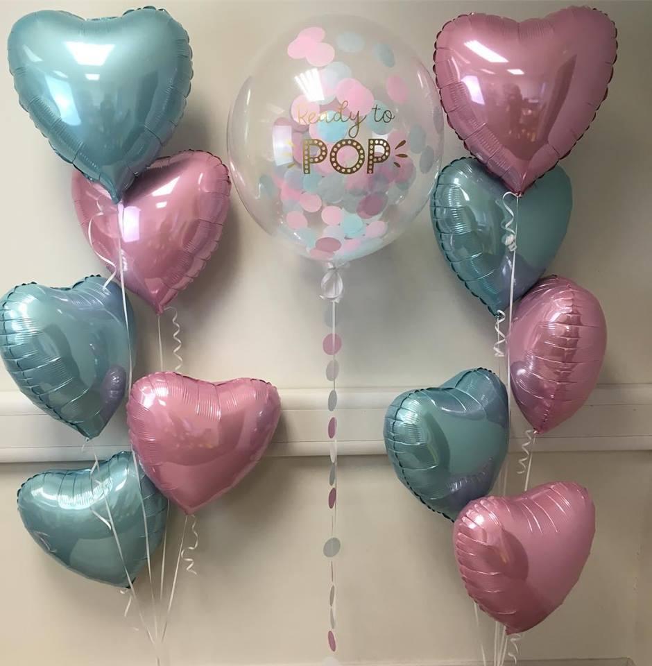 ready to pop confetti balloon and satin foil balloon bunches