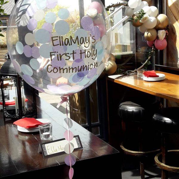 personalised confetti bubble balloon communion