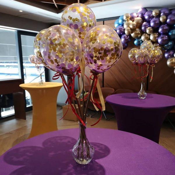 mini balloon wands in vase