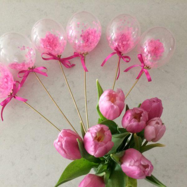 Pink confetti mini wand balloons