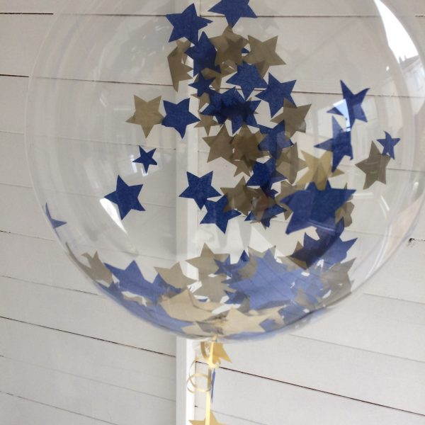 "20"" blue and gold confetti bubble balloon"