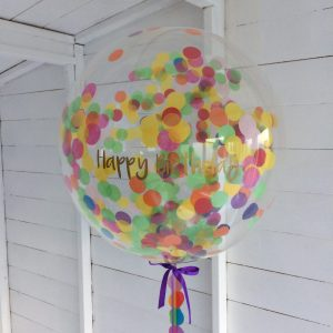 Colourful 'Happy Birthday' balloon.