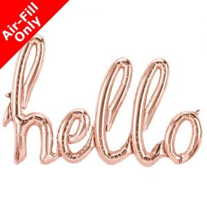 "rose gold hello 47"" script foil balloon"