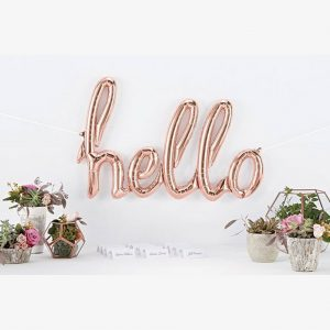 rose gold hello script foil balloon 47""
