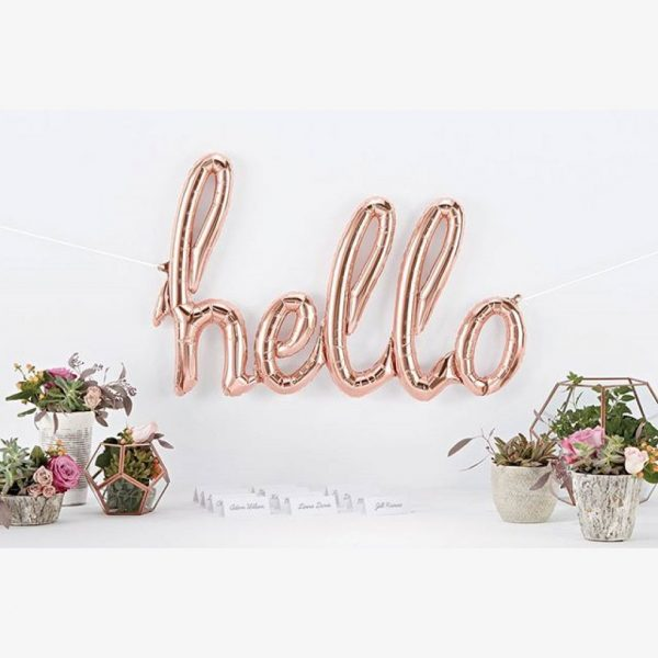 "rose gold hello script foil balloon 47"""