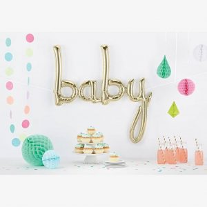 white gold baby script foil balloon 46""