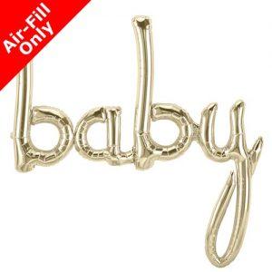 White gold baby script foil balloon 46 inch