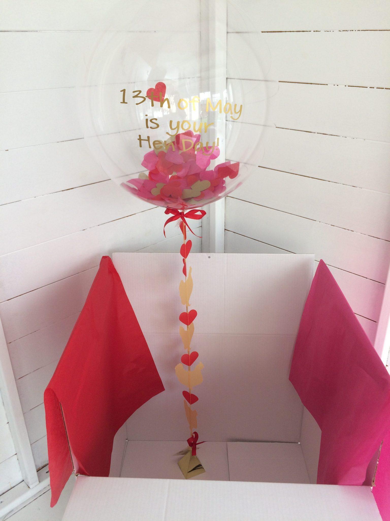 hen party invite confetti balloon in box