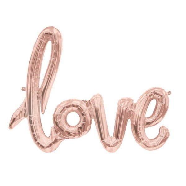 word balloon rose gold love