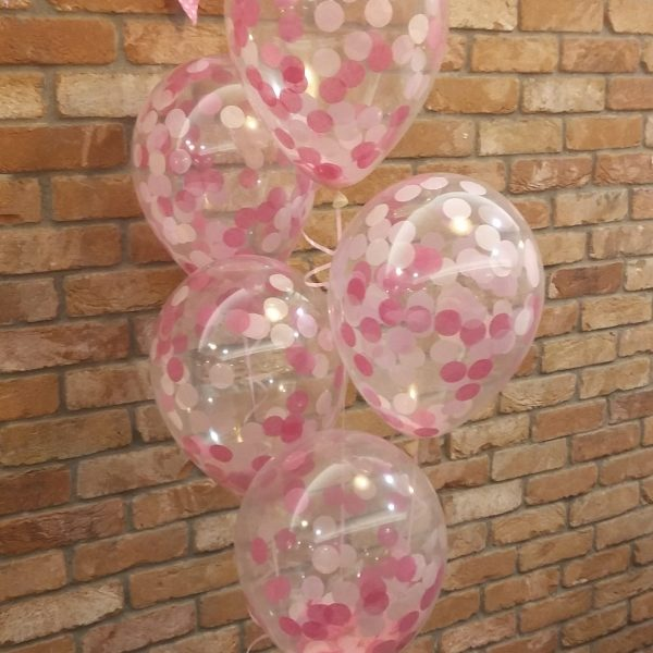 pink confetti latex balloons