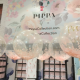 giant clear balloons filled with pink confett