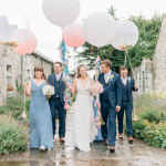 pink and weight giant helium wedding balloons