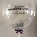 irishtimes confetti filled balloon with logo