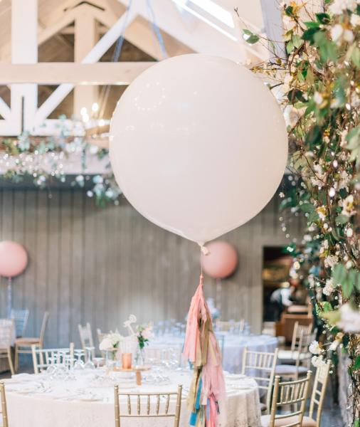 giant white wedding balloon with tassel tail