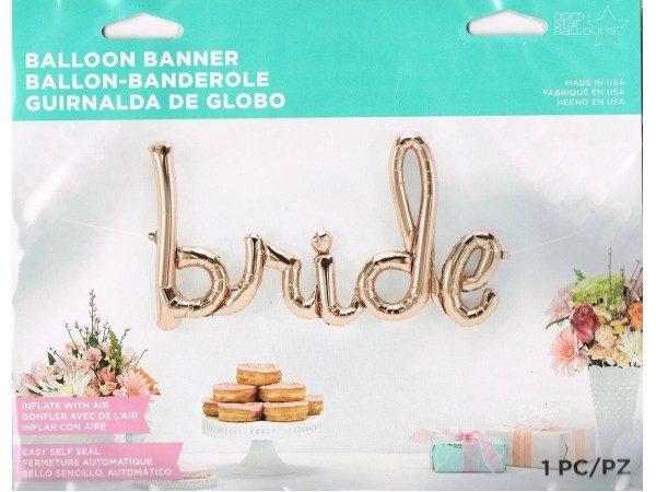 rose gold bride script balloon
