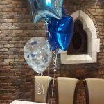 2 foil balloons and 1 confetti balloon bunch table topper