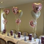 rose gold heart balloon bunches