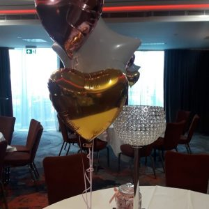 2 foil love heart balloons and 1 star balloon bunch
