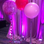 3 giant confetti balloons with shiny silver hanging tails