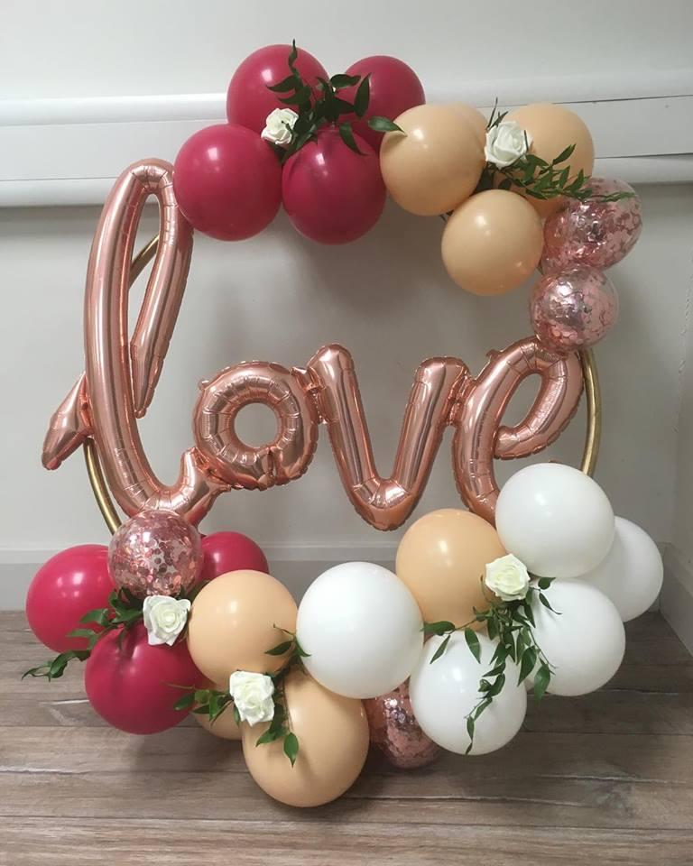 balloon hoop cluster rose gold love