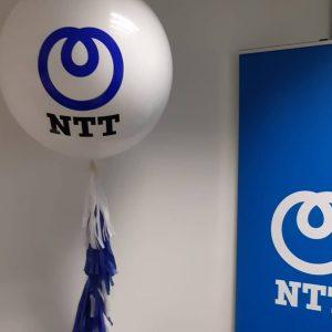 giant white balloon with ntt