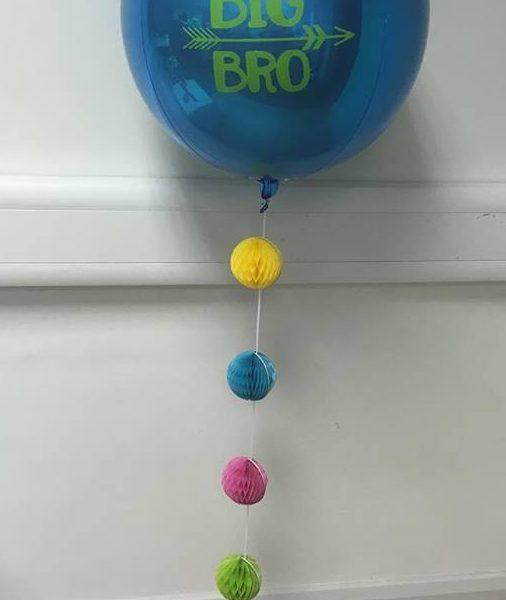 blue orbz balloon with custom text