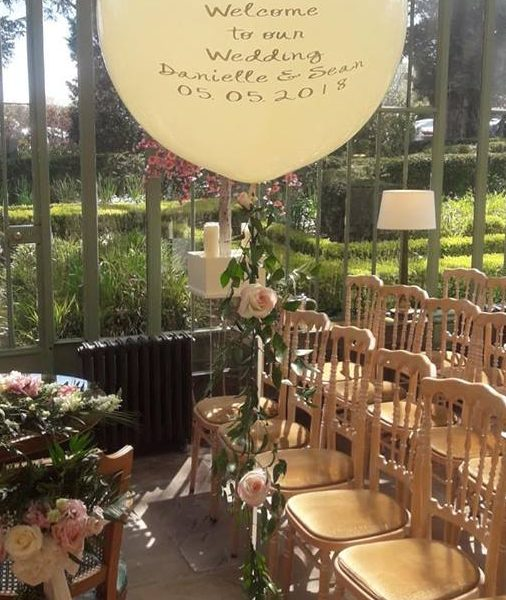 welcome to our wedding balloon with greenery tail