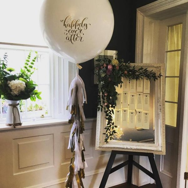 happily ever after wedding balloon with tassel tail