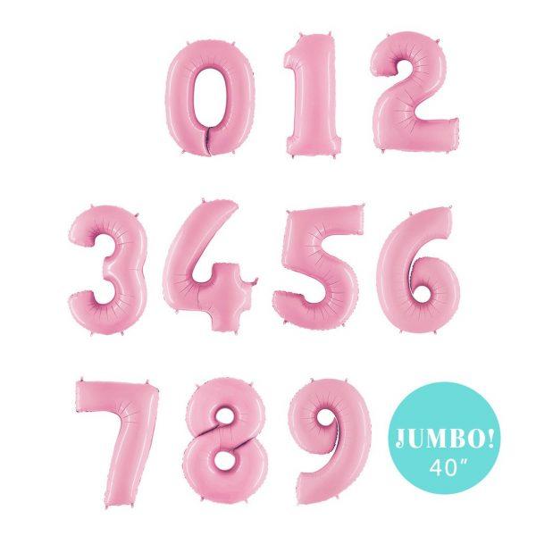 40 inch jumbo balloon number pastel pink