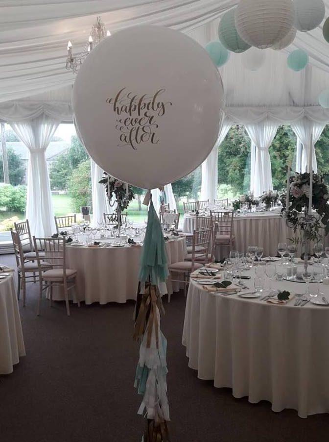 Giant wedding message balloons