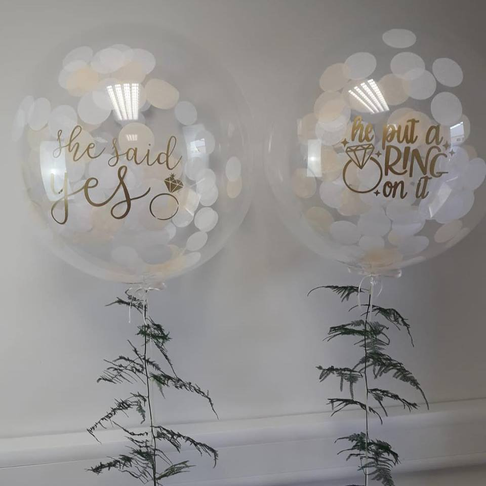 he put a ring on it bubble balloons with fern tail