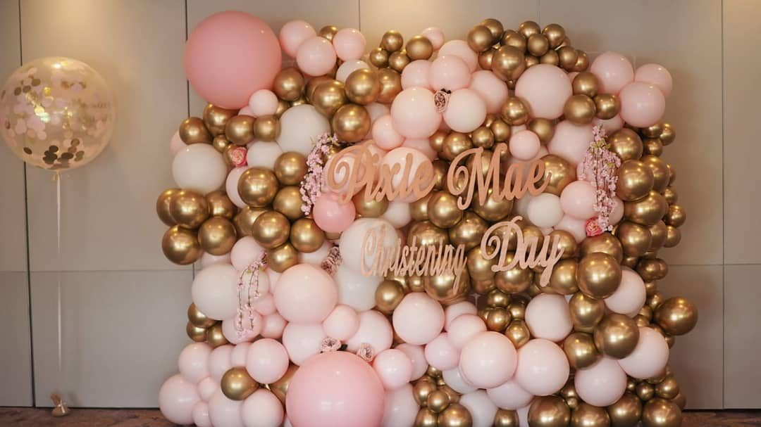 Pink and gold Balloon wall christening