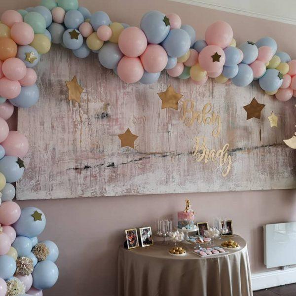 pastel balloon arch baby shower