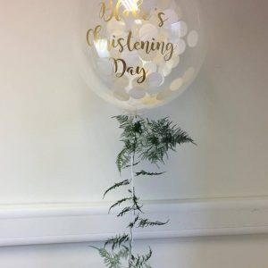 confetti balloon with fern tail