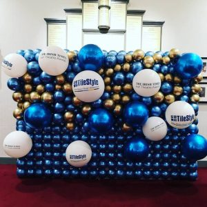large balloon wall chrome blue and gold