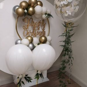 confetti balloon clear with fern tail