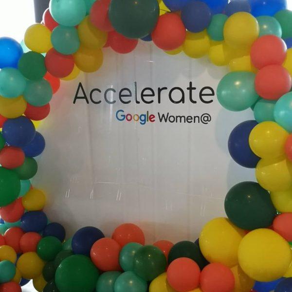 circle balloon backdrop with coloured balloons