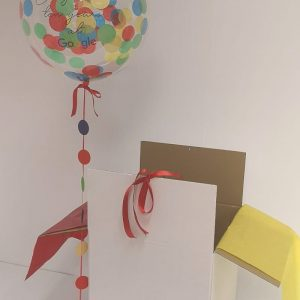 "24"" confetti balloon multi coloured and white box"