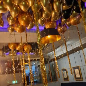 balloon ceiling chrome gold
