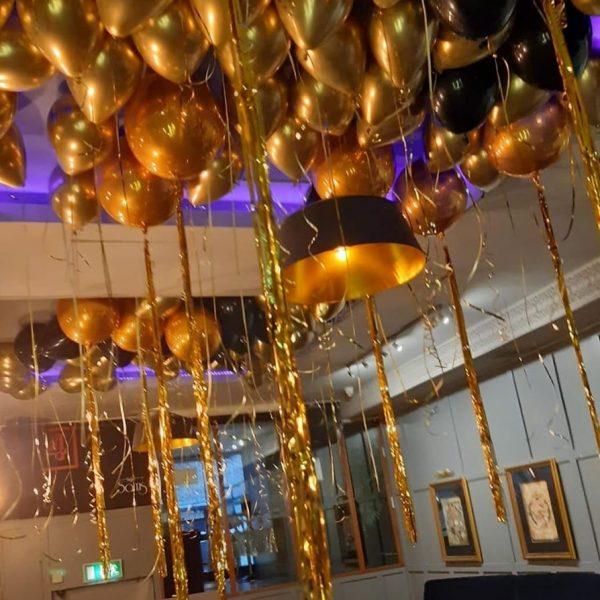 balloon ceiling chrome gold