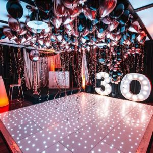 balloon ceiling over dancefloor