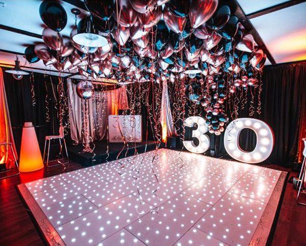 balloon ceiling over dancefloor