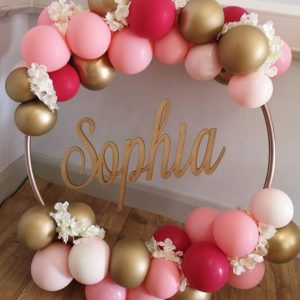 balloon hoop with woodern insert sophia gold pink balloons