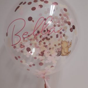 confeti balloon close up bella pink balloon clear filled with confetti