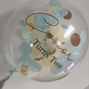 confetti balloon rose gold blue and rose gold text