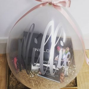 stuffed balloon with inglot makeup and personalised
