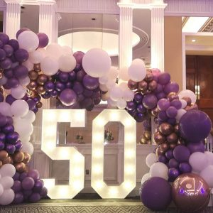 50th birthday balloon cluster